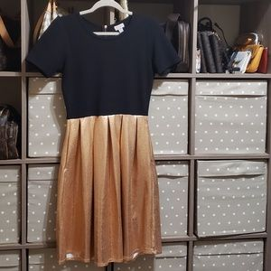 Lularoe EUC Amelia dress copper black M elegant
